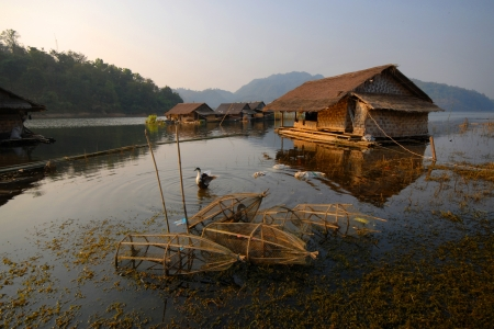 Floating home in the morning Stock Photo - 15807796