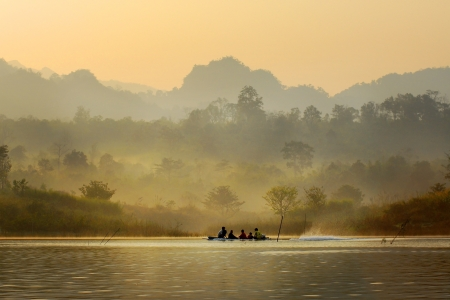 Travel by river.Sangklaburi morning.kanchanaburi Thailand.