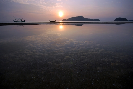 backwater: The backwater in the morning, the clouds in the sea  Samroyyod beach Prachuap Khiri Khan Thailand  Stock Photo