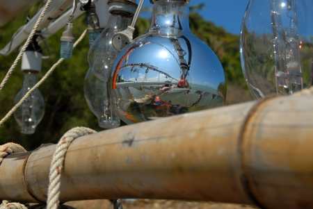 Reflection of the Lamp lure fishing  On a small fishing boat in Thailand Stock Photo - 16487030