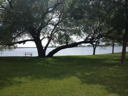 Beautiful day at a park on Rainy Lake. Stock fotó