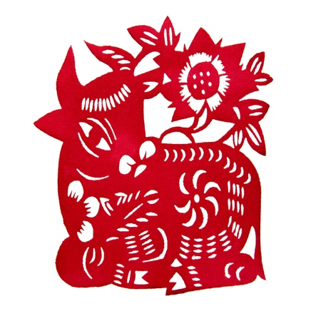 Chinese Paper-cutting  ox  Imagens