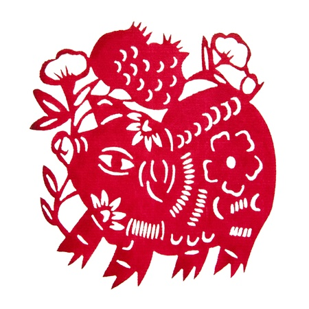 Zodiac Chinese Paper-cutting  Pig   스톡 콘텐츠