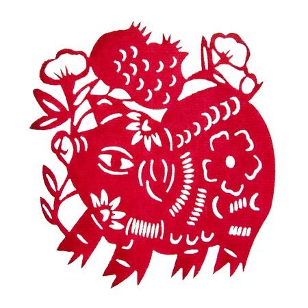 chinese zodiac: Zodiac Chinese Paper-cutting  Pig   Stock Photo