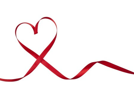 shaped: Red ribbon in heart shape