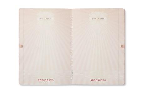 空白の中国のパスポートのページ