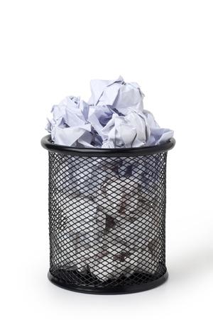 wastepaper basket: Wastepaper basket full of crumpled paper Stock Photo