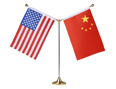 American and China table flag
