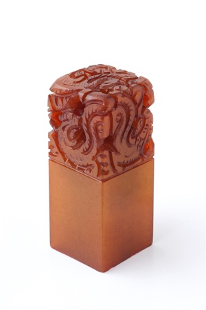 seal stamper: Chinese stone seal Stock Photo