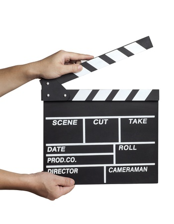 Hands holding out a clapperboard Stock Photo