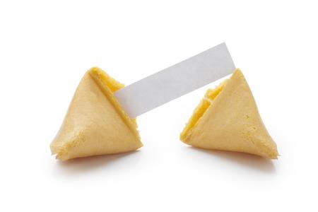Fortune cookies op witte achtergrond  Stockfoto