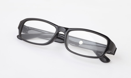 nearsighted: Black glasses isolated on white background Stock Photo