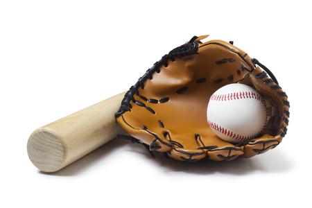 guante de beisbol: Guante de b�isbol, palo y bola Foto de archivo