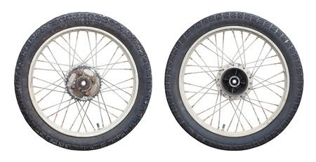 old motorcycle: Motorcycle wheels isolated on white background Stock Photo