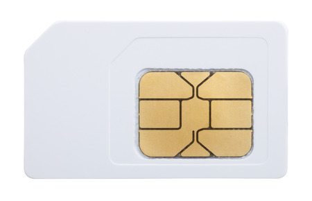 mobile phone sim card isolated on white Foto de archivo