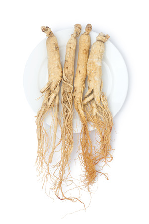 ginseng: dry ginseng roots on the plate