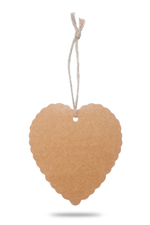 Heart shapes brown paper tag photo
