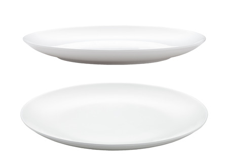 empty plate isolated on white 版權商用圖片