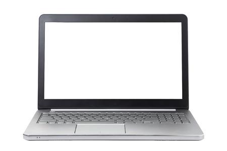 white laptop: Laptop isolato su priorit� bassa bianca
