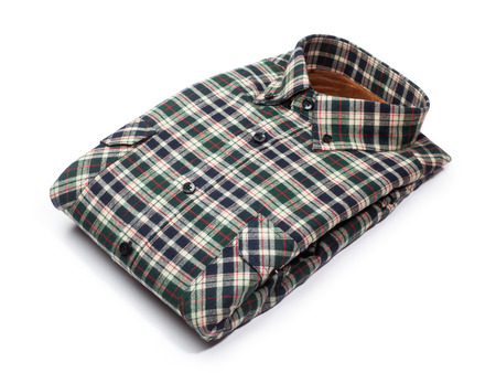 sleeved: cotton plaid shirt isolated on white background Stock Photo