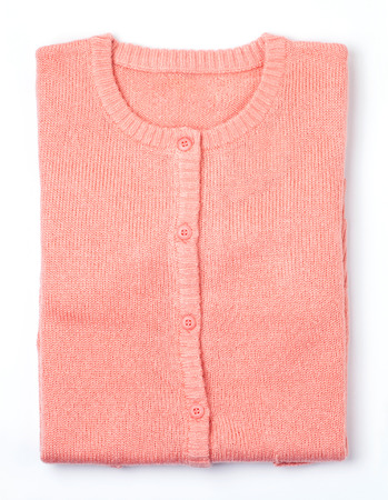 warm clothes: pink knit sweaters Stock Photo
