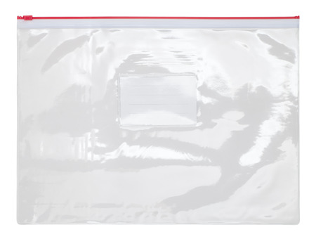 Plastic transparent zipper bag isolated on white background 写真素材