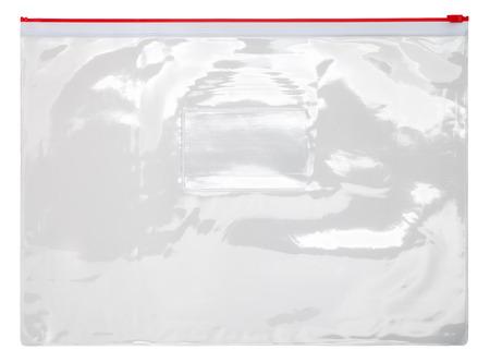 Plastic transparent zipper bag isolated on white background Foto de archivo