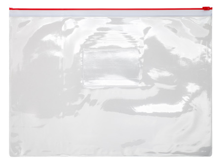 Plastic transparent zipper bag isolated on white background Stockfoto