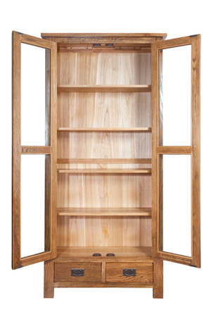tenon: Wooden bookcase isolated on white background
