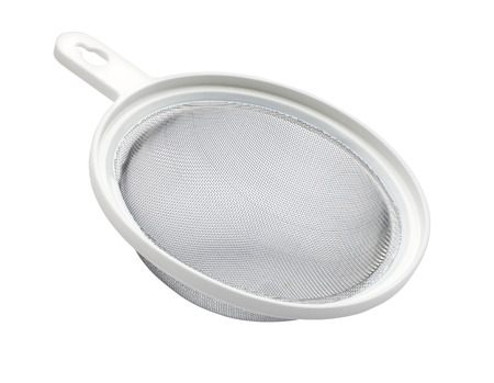sifter: Metal sifter isolated on white background Stock Photo