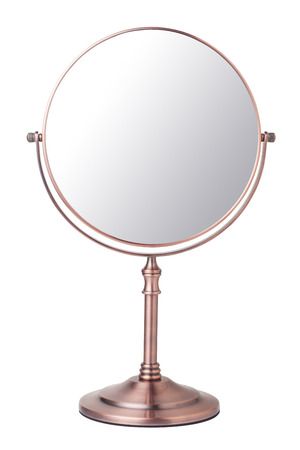 Vintage makeup mirror isolated on white background