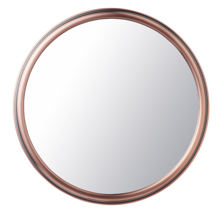 copper: Espejo de maquillaje de la vendimia aislado en el fondo blanco