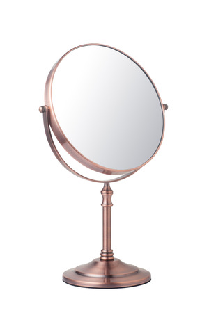 antique mirror: Vintage makeup mirror isolated on white background