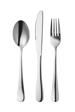 cutleries: Cutlery set with Fork, Knife and Spoon isolated on white background Stock Photo