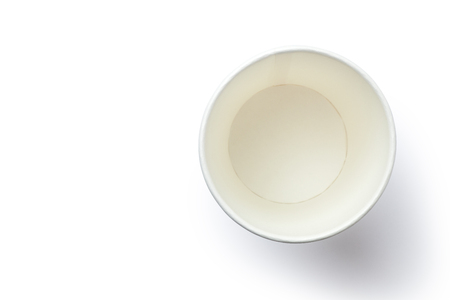 Top view of empty paper cup isolated on white background