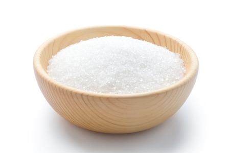 witte suiker in een houten kom Stockfoto