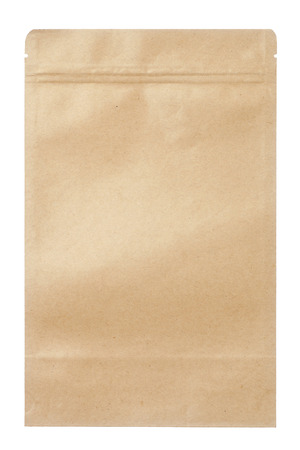 Brown paper food bag packaging with valve and seal, Isolated on white. Фото со стока