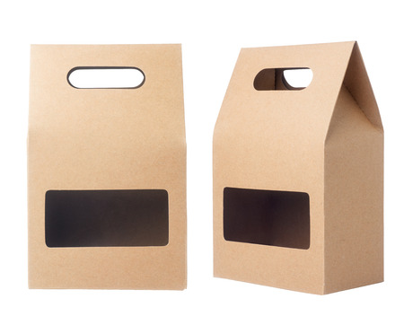 Brown packaging paper bag isolated on white background
