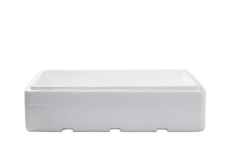 styrofoam: Styrofoam box isolated on wood background