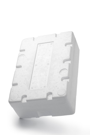 Styrofoam box isolated on wood background