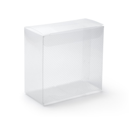 plastic box: Empty transparent plastic box on white background