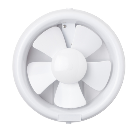 exhaust fan: Plastic exhaust fan isolated on white background Stock Photo