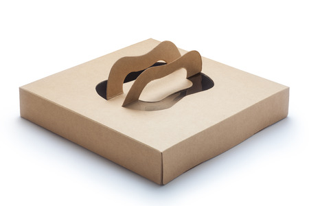 shipped: Brown packaging paper box isolated on white background