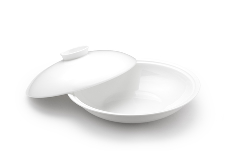 empty bowl: Empty bowl with lid on white background