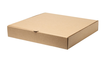 Empty pizza box isolated on white background