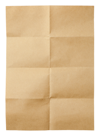vintage paper: Folded brown sheet of paper isolated on white background