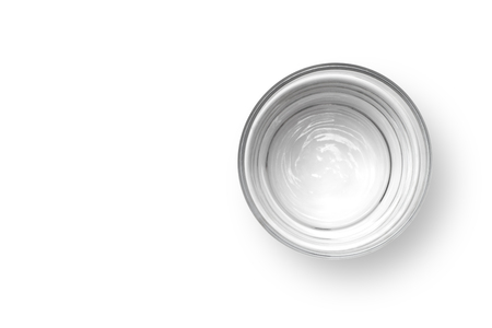 Cup of water on white background, Top view.