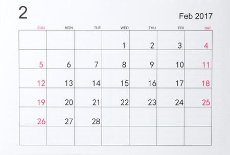 february: Calendar for February 2017 Stock Photo
