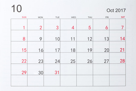 calendario octubre: Calendario de octubre de 2017