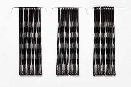 hairclip: Black metal hair clips isolated on white background